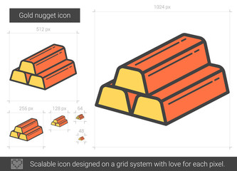 Gold nugget line icon.