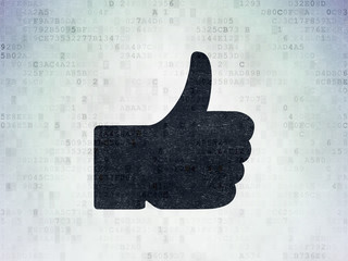 Social network concept: Thumb Up on Digital Data Paper background