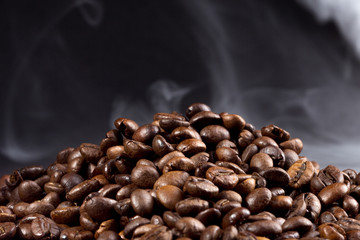roasted coffee beans with smoke