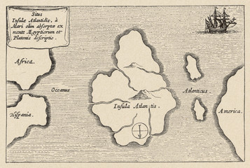 Map of Atlantis - Kircher. Date: 17th century.