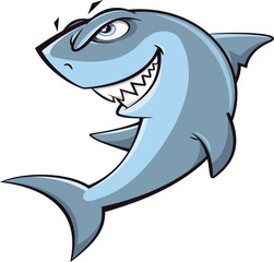 Angry shark cartoon illustration on white background