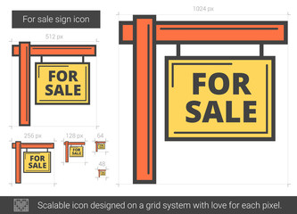For sale sign line icon.