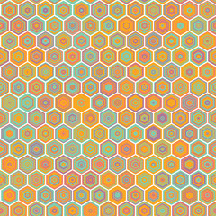Vector abstract colorful Honeycomb Seamless Pattern