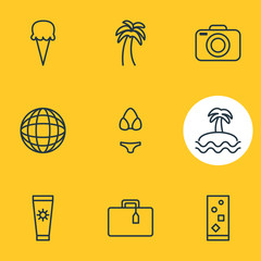 Vector Illustration Of 9 Season Icons. Editable Pack Of Swimwear, Island , Cocktail Elements.
