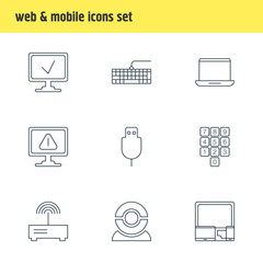 Vector Illustration Of 9 Notebook Icons. Editable Pack Of Qwerty Board, Gadgets, Notebook And Other Elements.