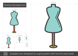 Sewing mannequin line icon.