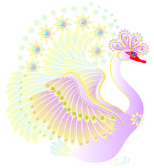 Illustration of fantastic swan from fairyland. Vector cartoon image.
