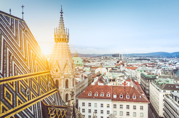 Vienna skyline with St. Stephen's Cathedral at sunset, Austria