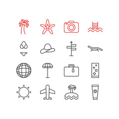 Vector Illustration Of 16 Season Icons. Editable Pack Of Palm , Fish , Island Elements.