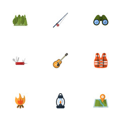 Flat Icons Zoom, Wood, Lifesaver And Other Vector Elements. Set Of Camp Flat Icons Symbols Also Includes Fish, Music, Guitar Objects.