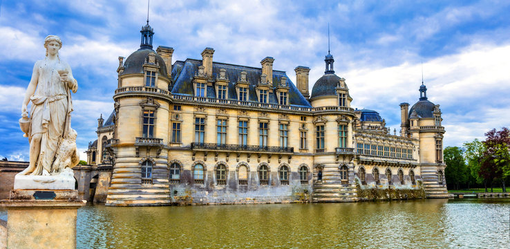 Great beautiful castles and heritage of France- Chateau de Chantilly, north from Paris