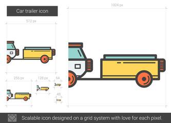 Car trailer line icon.