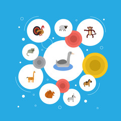 Flat Icons Mutton, Camelopard, Jackass And Other Vector Elements. Set Of Zoology Flat Icons Symbols Also Includes Merinos, Gobbler, Mutton Objects.