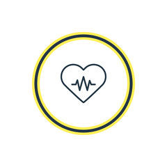 Vector Illustration Of Heart With Cardiogram Outline. Beautiful Medicine Element Also Can Be Used As Heart Rhythm Element.