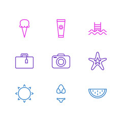 Vector Illustration Of 9 Summer Icons. Editable Pack Of Sunny, Swimming, Suitcase And Other Elements.