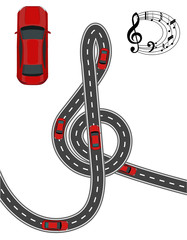 The road is stylized in the form of a treble clef. Red car. Music on the road. Volumetric drawing without a mesh and a gradient. Isolated. illustration