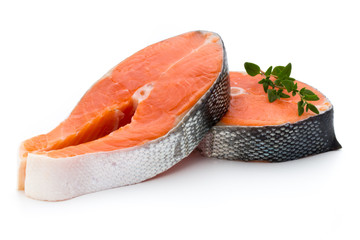 Foto auf AluDibond Fisch salmon steak close-up isolated on white background