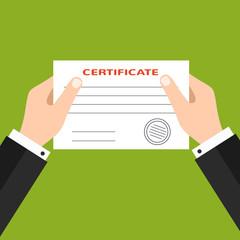 Businessman handing certificate