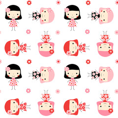 Cute seamless pattern with little girls and flowers in pink, red and black colors