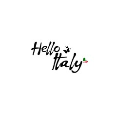 Hello Italy. Hand drawn lettering and modern calligraphy