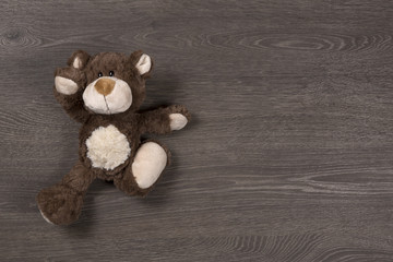 Brown teddy bear on wooden background, top view