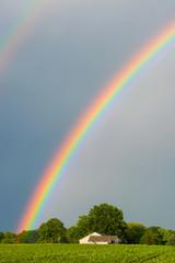 Beautiful rainbow over an Indiana farm