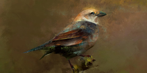 Wall Mural - Painted scenic bird sitting on a branch