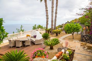Beautiful tropics villa terrace view by the ocean