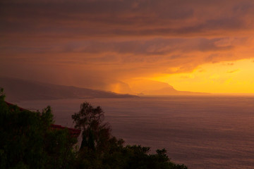 Sunset storm by the Atlantic ocean near Tenerife