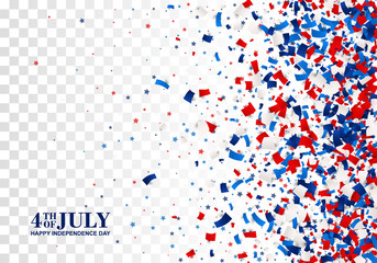 4th of July seamless pattern on transparent checkered background. Happy Independence Day design concept with scatter papers, stars in traditional American colors - red, white, blue. Isolated.