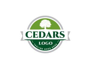 green emblem cedar logo with ribbon
