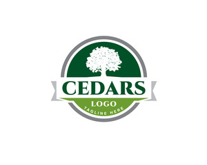 green emblem cedar logo with ribbon