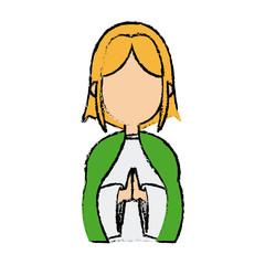 saint virgin mary holy religious image cartoon vector illustration
