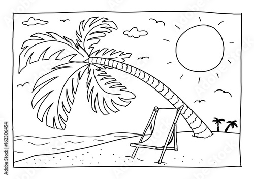 Ausmalbild - am Strand auf einer Insel\