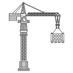 Vector Construction Crane. Black and White Vector Crane.
