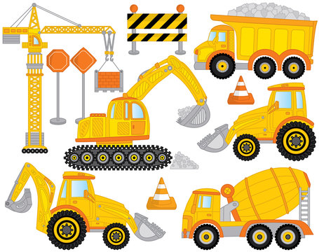 Vector Construction Transport Set Includes Crane, Concrete Mixer, Excavator, Bulldozer, Digger and Tractor. Construction Machines.
