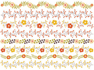 Vector Floral Border Set. Vector Floral Autumn Borders.