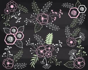 Vector Floral Bouquets on Chalkboard. Pastel Flowers on Blackboard Background.