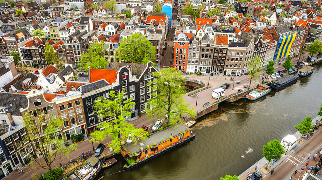 Amsterdam city from the top. General view from hight point at day time.