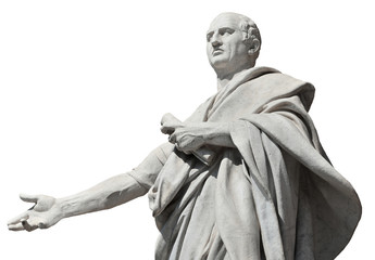 Photo sur Aluminium Commemoratif Cicero, ancient roman senator statue (isolated on white background)
