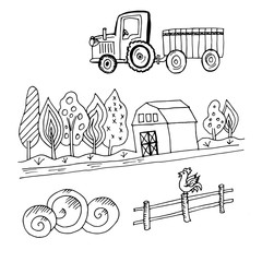 Doodle farm tractor