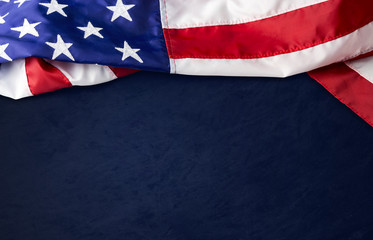 USA or american flag on blue background with clipping path