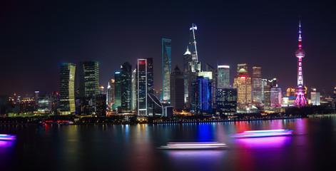 Aerial photography at Shanghai Skyline of panorama of night scene