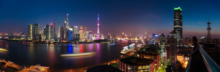 Photo sur Plexiglas Batiment Urbain Aerial photography at Shanghai Skyline of panorama of night scene