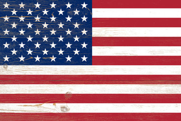 wooden planks painted us flag