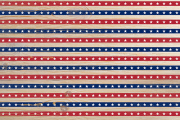 wooden planks painted with red and blue stripes and stars