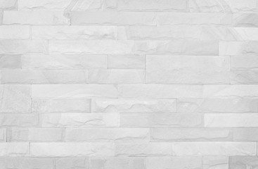 White brick wall texture background. Pattern white slate stone wall for design art work.