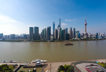 Aerial photography at city landmark buildings of Shanghai Skyline