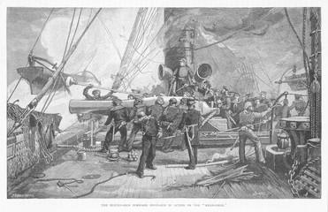 Kearsarge Sinks Alabama. Date: 19 June 1864