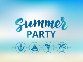 Summer party text, Beach party poster. Nautical and boat party design elements
